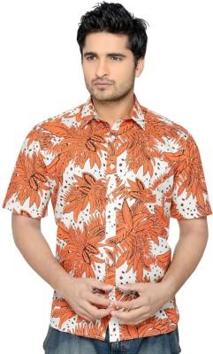 Thinc Men's Floral Print Formal Orange Shirt