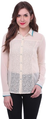 Colors Couture Women's Solid Casual White Shirt