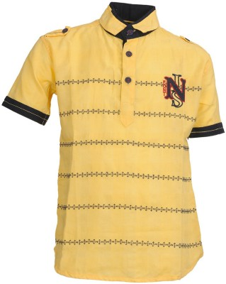 Font Kids Boy's Embroidered Casual Yellow Shirt