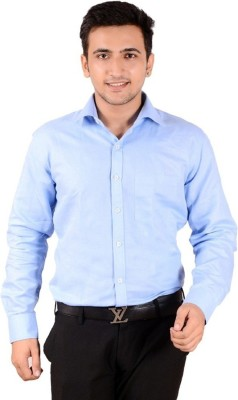 Rank Men's Solid Casual Blue Shirt