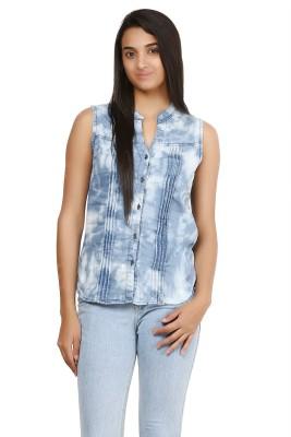Glitterss Women's Printed Casual Denim Blue Shirt