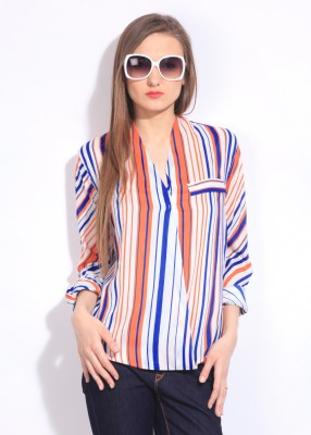 Remanika Women,s Striped Casual White, Blue, Orange Shirt