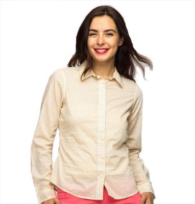 American Swan Women's Printed Casual Yellow Shirt