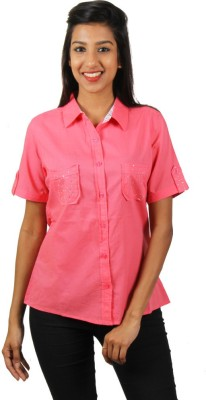 Old Khaki Women's Solid Casual Pink Shirt