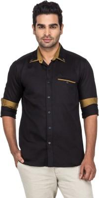 Laven Men's Solid Casual Linen Black Shirt