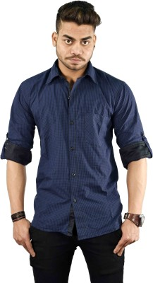 Your Desire Shirts Men's Checkered Casual Dark Blue Shirt