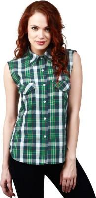 Faireno Women's Checkered Casual Green Shirt