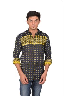 Suzee Men's Printed Casual Black, Yellow Shirt