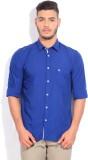 Parx Men's Solid Formal Blue Shirt