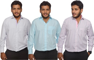 Maharaja Men's Checkered, Striped, Solid Formal Blue, White, Pink Shirt