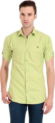 Camrick Men,s Solid Casual Light Green Shirt