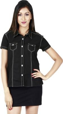 Faireno Women's Solid Casual Black Shirt