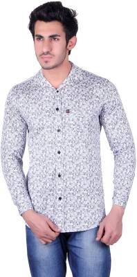 Broche Men,s Floral Print Casual White Shirt