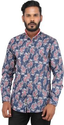 Piazza Italya Men's Paisley Casual Blue, Multicolor Shirt