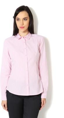 Van Heusen Women's Striped Formal Pink Shirt
