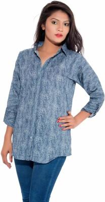 Pranjal Women's Printed Formal Grey Shirt