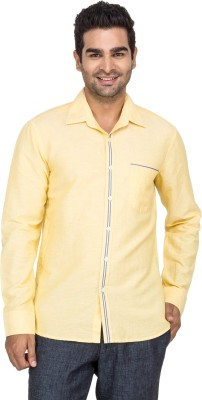 Laven Men's Solid Casual Yellow Shirt