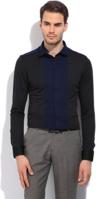 Arrow New York Men's Striped Casual Black, Blue Shirt