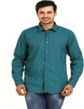 TT Men's Checkered Casual Green Shirt