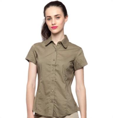 American Swan Women's Solid Casual Brown Shirt