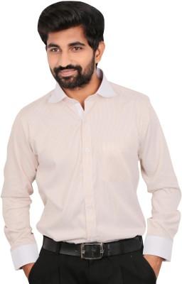 Caris Men's Striped Formal Linen Pink Shirt