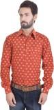 Nishiva Men's Printed Casual Orange Shir...