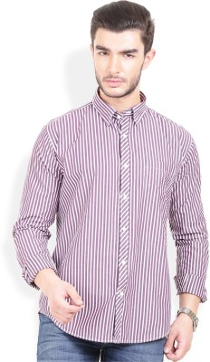 Urban Attire Men's Striped Casual Purple Shirt