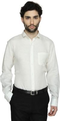 Cuffle Men's Solid Formal Linen White Shirt