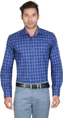 Don Vino Men's Checkered Casual Blue Shirt