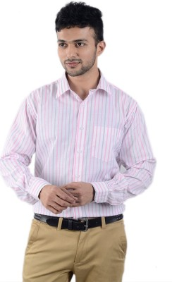 Cody Men's Striped Formal Pink, Grey Shirt