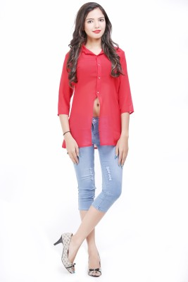 LOUISE BERRY Women's Solid Casual Red Shirt