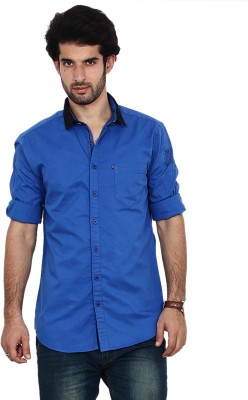 FRD13 Men's Solid Casual Blue Shirt