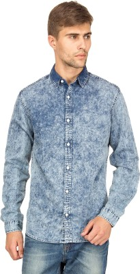 Blue Saint Men's Self Design Casual Blue Shirt