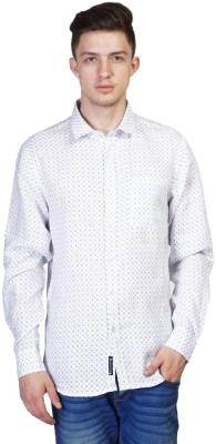 Seaboard Men's Printed Casual White Shirt