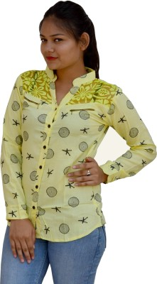 Aarti Collections Women's Printed Casual Yellow Shirt