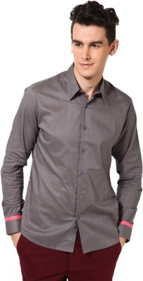 I Know Men's Solid Casual Grey Shirt