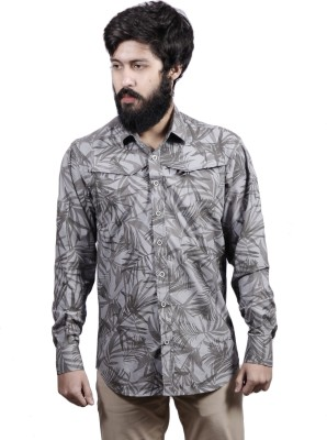 Fadjuice Men's Floral Print Casual Grey Shirt
