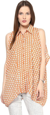 Remanika Women,s Polka Print Casual Orange Shirt