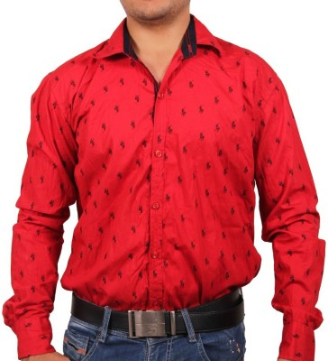 Tims Stuff Men's Printed Casual Red, Black Shirt