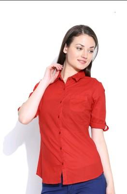 U&F Women's Solid Formal Red Shirt