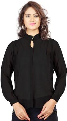 SFDS Women's Solid Formal Black Shirt