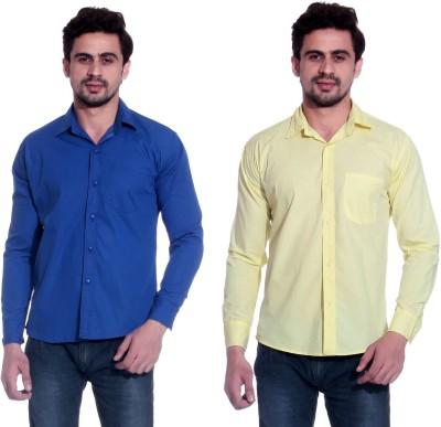 Calibro Men's Solid Formal Blue, Yellow Shirt