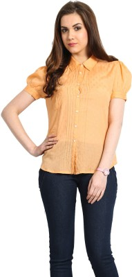 Global Colours Women's Solid Casual Orange Shirt