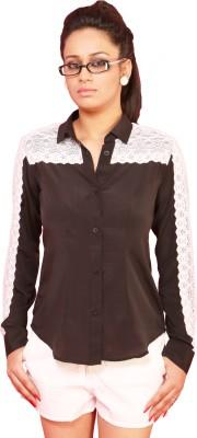 Schwof Women's Solid Casual Black, White Shirt