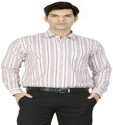 X-Secret Men's Striped Formal Beige Shirt