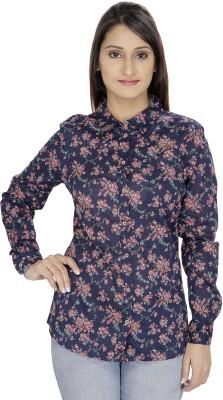 Franclo Women's Solid Casual Blue Shirt