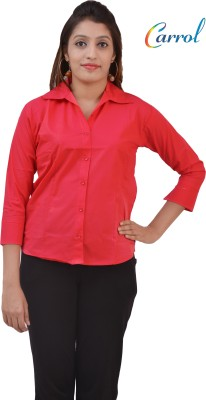carrol Women's Solid Casual Pink Shirt