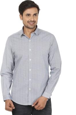 John Players Men's Printed Formal Blue, White Shirt