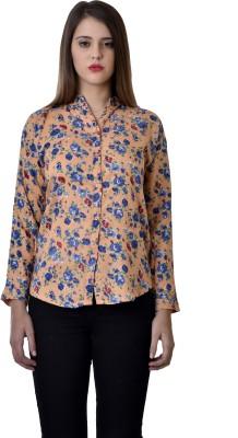 Tej Star Women's Printed Casual Orange Shirt