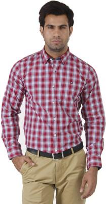 London Fog Men's Checkered Formal Red, Blue Shirt